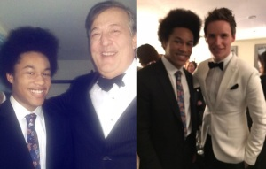 Sheku with Stephen Fry and Eddie Redmayne